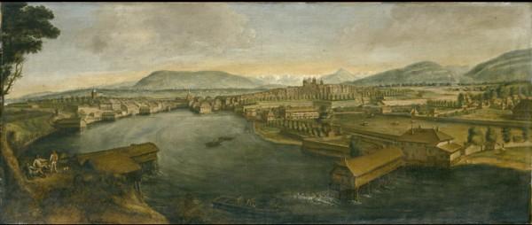 © Musée d'art et d'histoire, Ville de Genève, inv. no 1979-82 - Robert Gardelle (1682-1766) - Vue de Genève prise depuis Saint-Jean - En 1719 ou en 1726 (?) - Huile sur toile - Dim. : haut. 59.7 cm — larg. 142.2 cm - Photo : Yves Siza