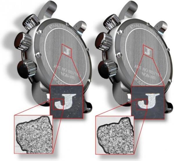 """Détail de deux lettres J gravées sur des fonds de boîtiers, identiques à l'œil nu mais de texture métallique différente pour le logiciel de détection Fingerprintâ""""¢ d'AlpVision © AlpVision"""