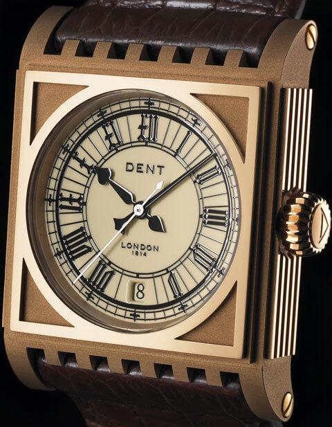 Montre Dent Parliament boîtier en or rose et cadran en ivoire, équipé du calibre Dent 101 automatique 28,800 (4 Hz) © Dent