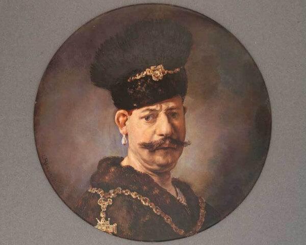 Portrait d'homme à la toque, diamètre 85 mm, signé L. Reguin Duc © MIH