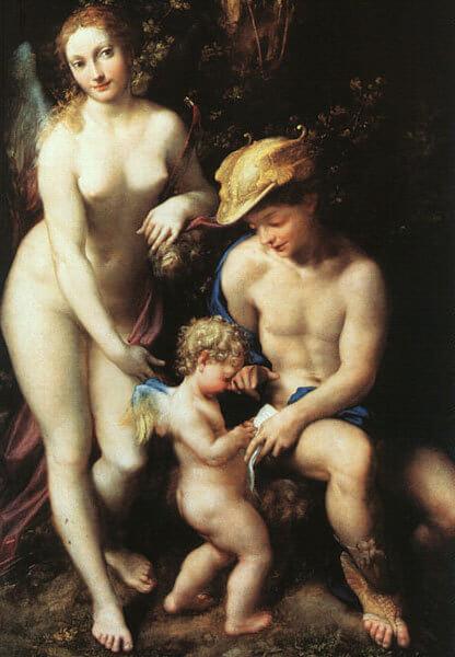 «L'éducation de l'Amour» par Le Corrège (vers 1525). National Gallery de Londres