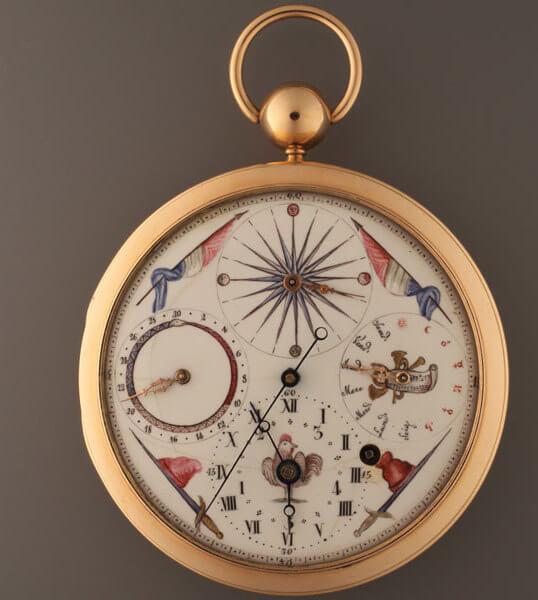 Montre à cadran émaillé, avec quantièmes, jours de la semaine et phases de lune Nicoud à Sallanches, vers 1793. Collection privée © MIH