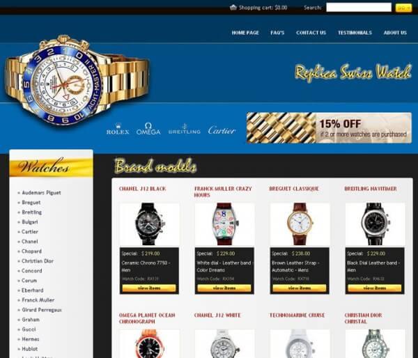Un vrai faux site de montres contrefaites, telle est la dernière idée de la Fédération de l'industrie horlogère suisse pour sensibiliser le public aux méfaits de ce fléau © Fédération de l'industrie horlogère suisse FH