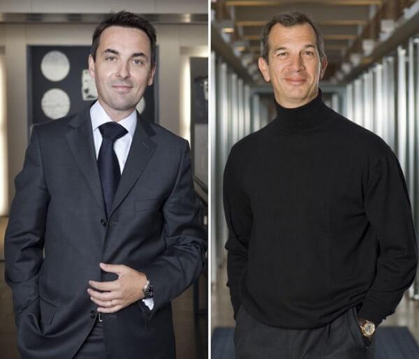 Sylvain Auroux, directeur auprès de Piaget, responsable des marchés suisse et italien, et Philippe Léopold-Metzger, patron de la marque © Piaget
