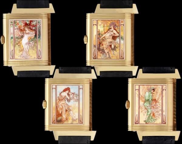 Lot 255 : set de quatre montres-bracelets émaillées Jaeger-LeCoultre Reverso « Mucha's Four Seasons » édition limitée 1996 ; est. CHF 60'000-80'000 © Antiquorum
