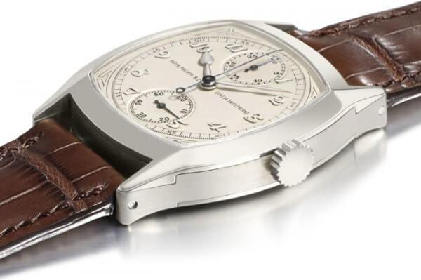 Lot 81 : chronographe monopoussoir Patek Philippe de 1928 en or gris ; est. CHF 1,5-2,5 millions © Christie's Images Ltd. 2011