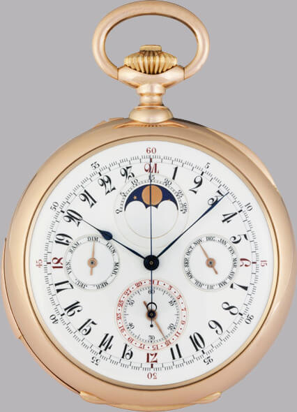 Lot 603 : montre de poche Patek Philippe en or rose de 1890 © Antiquorum