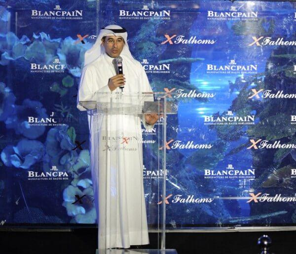 Le prince Mohammed Ali Alabbar, très heureux d'accueillir Blancpain à Dubai pour le lancement de la XFathoms © Blancpain
