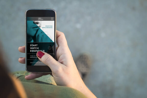 Woman walking smartphone finances