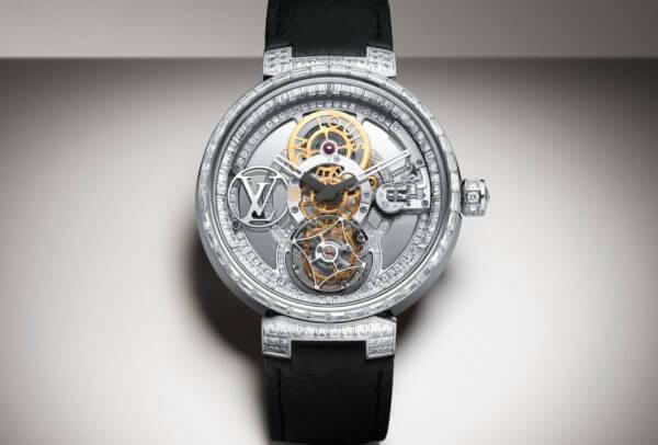 Louis Vuitton Tambour Moon Tourbillon Volant « Poinçon de Genève » Pavée