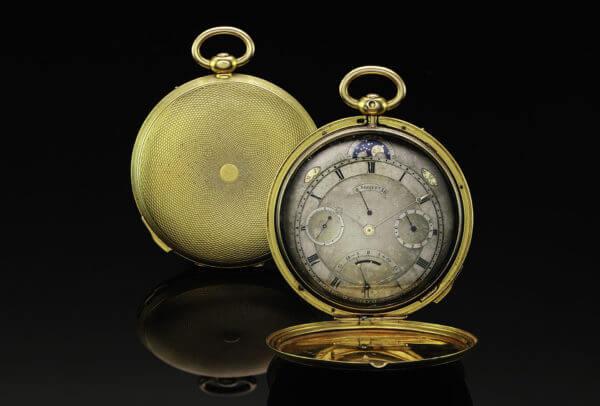 Montre de poche astronomique Breguet N° 4691 réalisée vers 1830. Cette répétition des demi-quarts propose un nombre exceptionnel de complications pour l'époque, dont une équation du temps, une indication de la réserve de marche, les jours, la date, les mois et une phase de Lune.