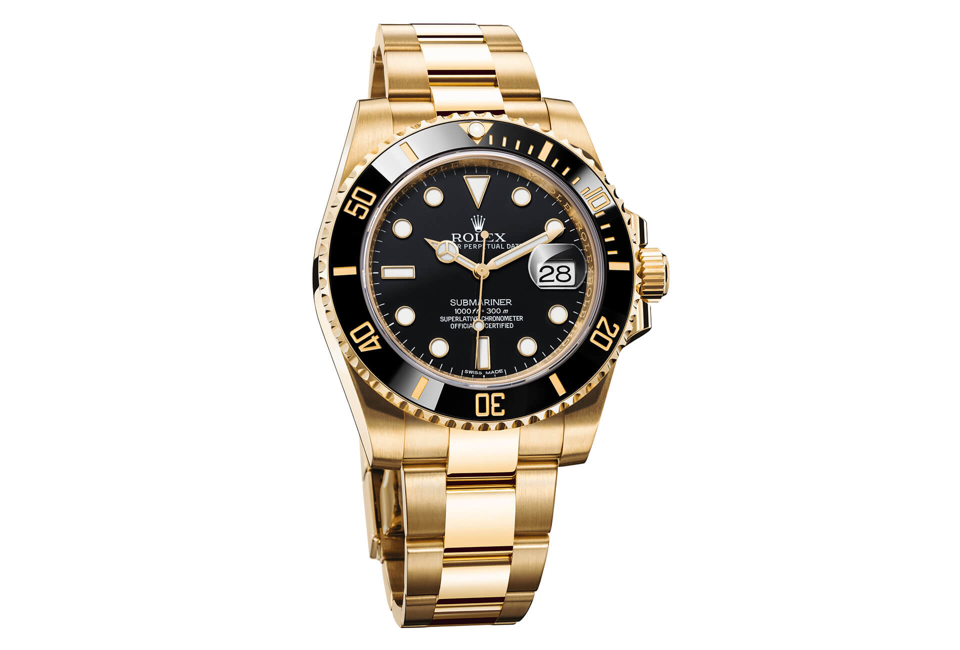 cff8e2e1de8 Rolex Oyster Submariner Date in 18k yellow gold with black bezel and dial
