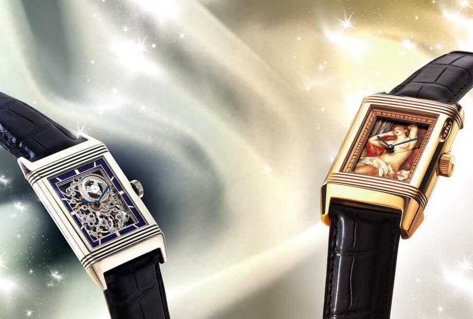 Deux pièces Jaeger-LeCoultre de l'Artistic Timepieces from a California Collection vendue chez Sotheby's le 24 mai. Gauche : une Reverso squelette émaillée vendue pour 20 000 dollars. Droite : une Jaeger-LeCoultre Reverso à Éclipses La Dormeuse en or rose 18 carats, vendue pour 35 000 dollars.