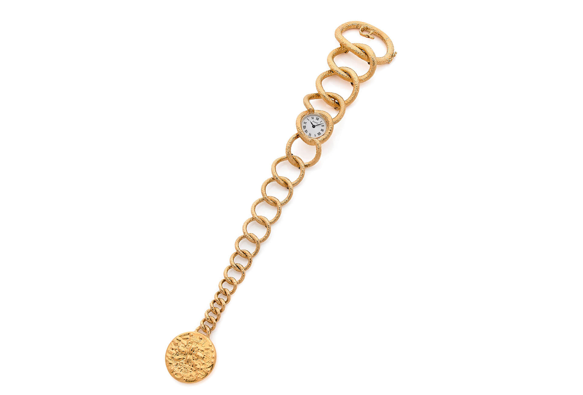 cac914b19a306 Piaget montre bracelet de dame à remontage manuel en or jaune 18k avec  pièce de monnaie