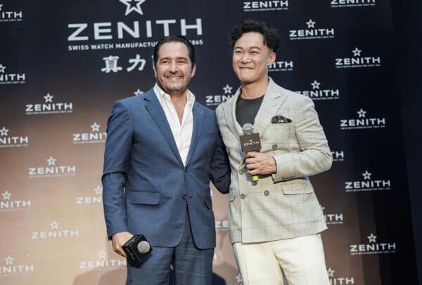 Julien Tornare, CEO de Zenith et Eason Chan, le nouvel ambassadeur de la marque