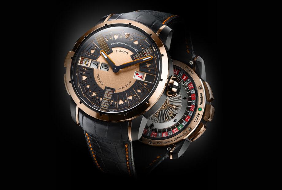 La montre Poker est protégée par un brevet mondial. Chacune des quatre exécutions (bicolores titane traité PVD noir et or gris ou titane traité PVD noir et or 5N ; monochromes en titane traité PVD noir avec aiguilles en saphir bleu ou en rubis rouge) est limitée à 20 exemplaires.