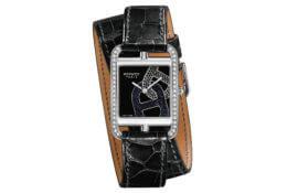 Cape Cod Chaîne d'Ancre, cadran laqué noir, bracelet double tour © Hermès
