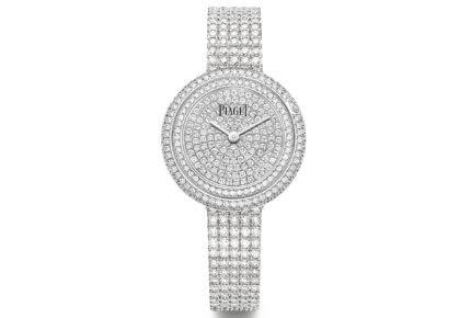 Montre Possession – 29 mm, boîtier en or blanc 18 carats serti de 162 diamants taille brillant, cadran pavé de 142 diamants sertis © Piaget