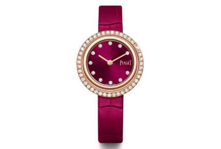 Montre Possession – 29 mm, boîtier en or rose 18 carats serti de 42 diamants taille brillant, cadran rose foncé serti de 11 index en diamant taillés en forme de point © Piaget