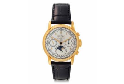 Christie's ventes de NewYork: Patek Philippe chronographe calendrier perpétuel avec phases de lune en or, Référence2499, lot100 vendu pour 636'500dollars