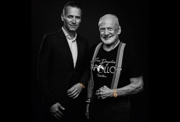 Buzz Aldrin et Raynald Aeschlimann, Président et CEO de OMEGA