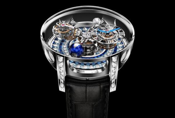 Jacob & Co. Astronomia 3-D Setting, montre sertie pour 15,44 carats de diamants et de saphirs.