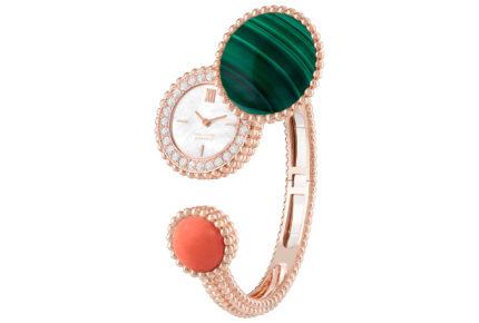 Montre Perlé or rose malachite corail et diamants © Van Cleef & Arpels