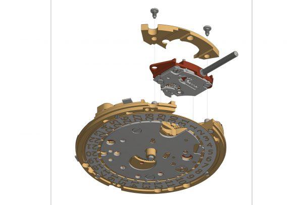 Le calibreOM10 contient un bloc de remontage et de mise à l'heure séparé de la platine.